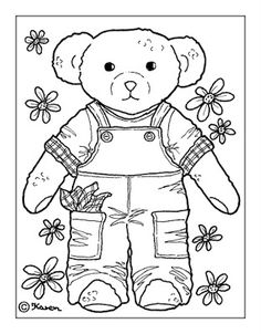 Karen`s Paper Dolls: Doll and Bear Postcards to Print and Colour. Dukke og bamse postkort til at printe og farvelægge.