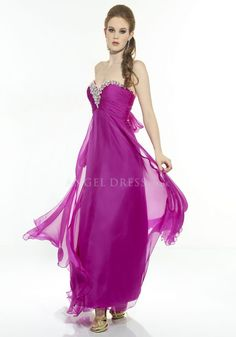 Sweetheart Empire Chiffon Floor Length Open Back Column Dresses For Prom