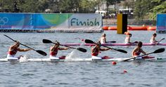 Canada's Andreanne Langlois, Emilie Fournel, Genevieve Orton and Kc Fraser paddle in the women's kayak four 1000m heat during the 2016 Summer Olympics in Rio de Janeiro, Brazil, Friday, Aug. 19, 2016. (AP Photo/Andre Penner)