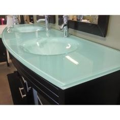 Kokols, Amriel 63 in. Double Vanity in Espresso with Tempered Glass Vanity Top in Aqua and Mirror, 9120 at The Home Depot - Tablet