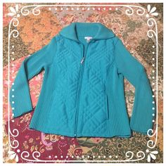Zip Up Sweater  Beautiful turquoise zip up sweater with pockets. Excellent condition. Knit body: 100% cotton, woven body: 100% polyester, woven lining and filling: 100% polyester. Nice weight for spring. Smoke free home. Croft & Barrow Sweaters