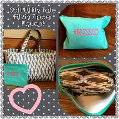 Soft Utility Tote fits in the Zipper pouch.