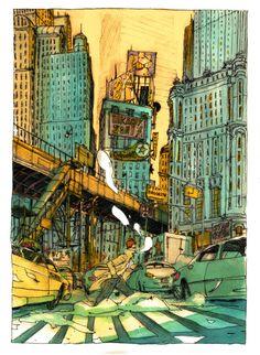 """Some watercolors - """"L'homme sans rêve"""" by Olivier Bonhomme, via Behance"""
