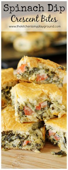 Spinach Dip Crescent Bites ~ all the goodness of spinach dip, baked up between flaky layers of crescent rolls!  Perfect for any party menu.   www.thekitchenismyplayground.com