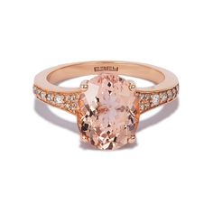 Effy Jewelry Effy Gemma 14K Rose Gold Morganite and Diamond Ring, 3.40... ($995) ❤ liked on Polyvore featuring jewelry, rings, pink gold ring, 14 karat gold jewelry, 14k rose gold jewelry, rose gold jewellery and diamond rings