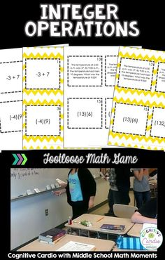 Looking for a fun way to help your math students practice with integer operations? Keep your middle school students engaged and practicing with this Integer Operations Footloose math activity! Math 5, Math Teacher, Math Classroom, Math Games, Integers Activities, Math Activities, Math Resources, Math Notebooks, Interactive Notebooks