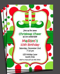 Christmas Birthday Party Invitations with envelopes Santa Holly