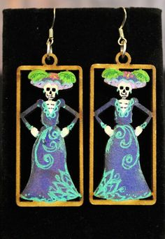 Catrina Lazer cut Wood Earrings Hand Made, Day of the Dead, Mexican Folk Art