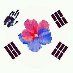 awesome tattoo of korean flag, red flower as japan? Kpop Tattoos, Body Art Tattoos, Small Tattoos, Tatoos, Korean Flag, Korean Art, Korea Tattoo, Deviantart Drawings, Flag Art