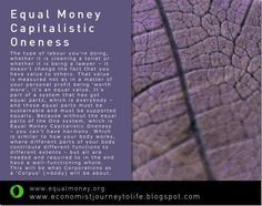 Capitalistic Oneness - Equal Money -Matti Freeman Art http://marlenvargasdelrazo.wordpress.com/2013/03/07/321-political-vs-economic-power-emc/