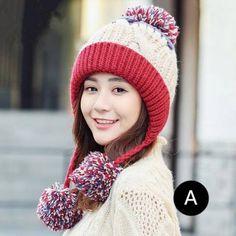 0b4b0700be3 Color block knit hat with ear flaps for women winter fleece knit hats