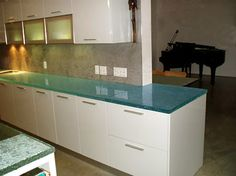 "1 1/2"" Fusion Glass Countertop, Natural Clear Color with Painted Back, Classic Texture, Organic Edges"