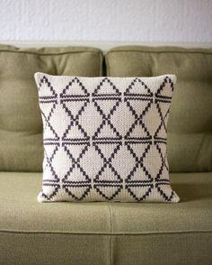 Modern Geometric Knitted Fairisle Cushion / Pillow Cover / Cream and Dark Brown