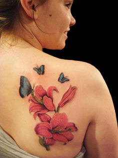 Wallpapers : Latest Lily Tattoo Designs For Women Butterfly With Flowers Tattoo, Lily Flower Tattoos, Beautiful Flower Tattoos, Butterfly Tattoo Designs, Tattoo Designs For Girls, Best Tattoo Designs, Butterflies, Blue Butterfly, Tattoo Flowers