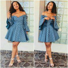 Blue off shoulder African  Print Ankara Dashiki Seshoeshoe Seshweshwe Dress