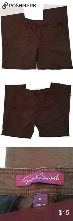 """Gloria Vanderbilt   Brown Pants Comfy pants with a bit of Spandex for stretch! Double front and back pockets.  Inseam : 30"""" Waist : 17"""" Leg openings : 9"""" Measurements are approximate when laid flat. Gloria Vanderbilt Pants Boot Cut & Flare"""