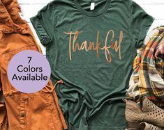 Etsy :: Your place to buy and sell all things handmade Bleach Shirts, Vinyl Shirts, Thanksgiving Shirts For Women, Autumn T Shirts, Winter Shirts, Tee Shirt Designs, Crew Neck Shirt, Diy Shirt, Thankful