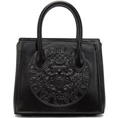 Balmain Black Mini 3D Logo Bag ($2,040) ❤ liked on Polyvore featuring bags, handbags, shoulder bags, black, structured purse, clasp purse, balmain purse, chain handle handbag and mini purse