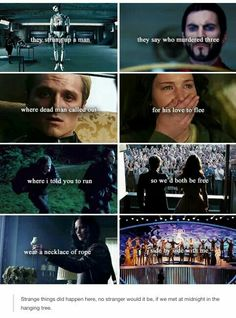 "This is pretty cool but dark and depressing too. Hunger games -""Hanging Tree"" ""Are you, are you coming to the tree? Strange things have happened here-no stranger would be-if we met at midnight in the hanging tree. The Hunger Games, Divergent Hunger Games, Hunger Games Memes, Hunger Games Fandom, Hunger Games Catching Fire, Hunger Games Trilogy, Katniss Everdeen, Katniss And Peeta, Tribute Von Panem"