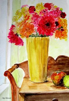 MUMS IN A YELLOW VASE - 2005  Watercolor by Judy Underwood Painting Inspiration, Color Inspiration, Yellow Vase, Watercolor Art, Paintings, Contemporary, Artist, Watercolor Painting, Paint
