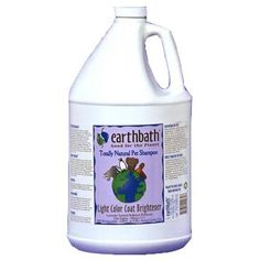 Earthbath Light Color Coat Brightener 1 Gallon    Earthbath Light color Coat Brightener shampoo adds extra sparkle and brilliance to the coats of light colored dogs and cats with the essence of lavender. Safe for dogs. cats. puppies & kittens over 6wks old. Ingredients: Purified water. NAtural cleansers. essence of lavender. optical brighteners. All ingredients are Natural. 100% biodegradable. and extra gentle on you and your pet.