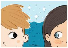 hellobea: a summer flirt #sea #beach #love #illustration #cartoon #teenagers #drawing #faces #glance #flirting #boy #girl