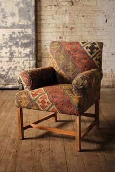 Wool Kilim Arm Chair,31'' x 37''H. #Handmade #Contemporary