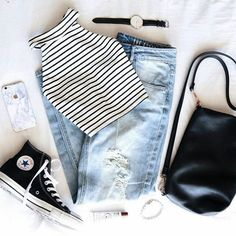 Black and White Striped Top and Denim Jeans with Black High-Top Converse