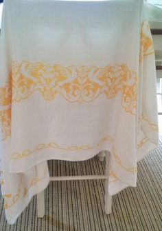 Vintage Embroidered Tablecloth - Yellow birds tablecloth by theindustrycottage on Etsy