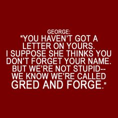 I love this line. In Sorcerer's Stone. Fred and George humor was always my favorite.