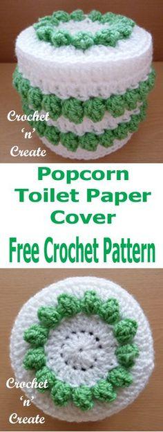 Free crochet pattern for popcorn toilet paper cover from #crochetncreate #crochet #crochettoiletrollcover