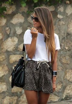 leopard shorts + white tee