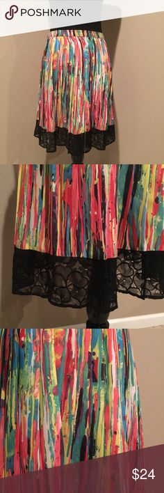"NWOT - Gorgeous colored skirt with lace trim This is a beautiful piece!!  Colors are gorgeous and lace trim along bottom. Side zip and hook closure. Approximately 21"" long. Never been worn. Prabal Gurung for Target Skirts"