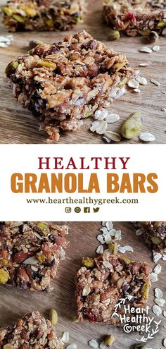 Recipes Snacks Bars This recipe for no-bake, healthy granola bars is packed with heart-healthy ingredients. Sweetened with Medjool dates and honey, these bars contain a mixture of nuts, cranberries and rolled oats with the option of mini chocolate chips! Breakfast Bars Healthy, Healthy Granola Bars, Healthy Bars, Healthy Baking, Healthy Snacks, Keto Granola, Date Granola Bars, Date Recipes Healthy, Rolled Oats Recipe