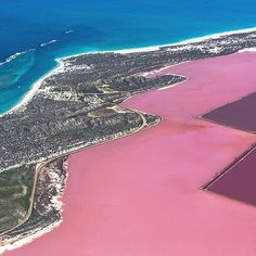 Hutt Lagoon at Port Gregory in western australia.