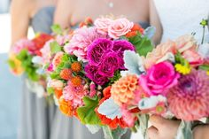 Colorful wedding bouquets.