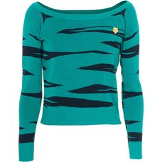 KENZO Tiger Stripe Turquoise Blue Cropped fine knit sweater (5.320 UYU) ❤ liked on Polyvore featuring tops, sweaters, shirts, long sleeves, long sleeve pullover shirts, sexy long sleeve shirts, turquoise long sleeve shirt, boat neck sweater and sexy shirts