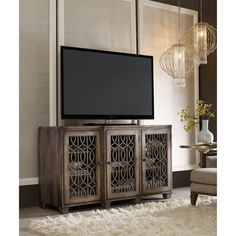 "Hooker Furniture 500-55-214 64"" Entertainment Console in Light Wood"
