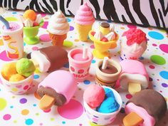 Kawaii and cute Erasers-all of these are good for pet shops! Kitsch, Cool Stationary, Eraser Collection, Cool Erasers, Desu Desu, Cool School Supplies, Office Supplies, Barbie, Kawaii Stationery