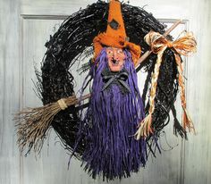 Halloween Witch Wreath, Witch's Broom Wreath, Halloween Wreath, Witch Wreath, Halloween Décor, Black Grapevine Wreath by SilvaLiningDesigns on Etsy