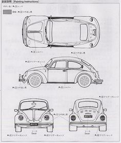 vw beetle schematic from a model paint guide. Kdf Wagen, Vw Classic, Cars Coloring Pages, Vw Vintage, Car Sketch, Car Drawings, Vw T1, Vw Beetles, Sport Cars