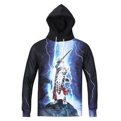 Lightning Cat Printing Hooded Sweater L6002 Positive