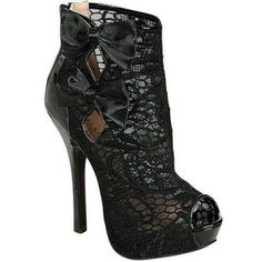 Black lace high-heels with black bows, all of my favorites!