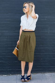 striped shirt | midi skirt | summer fashion | streedstyle