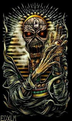 Iron Maiden-powerslave Arte Heavy Metal, Iron Maiden Band, Eddie Iron Maiden, Iron Maiden Mascot, Iron Maiden Powerslave, Iron Maiden Posters, Eddie The Head, Dark Gothic Art, Rock Poster