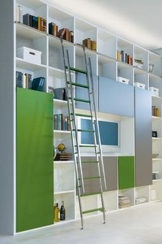 sliding library ladder from Bartels in a modern living room library www.bartelsdoors.com