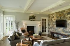 """Inspiration shot - cool colour pallette with warm textures. Beautiful craftsmanship - white trim and fireplace. A """"comfortable, lived-in"""" look."""