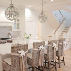 Christmas decor, ribbon chair, White kitchen, coastal farmhouse, coastal style, hamptons style, coastal , farmhouse