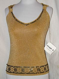 Sz S Joseph A. Gold Glittering Knit Top NWT Front Aztec Decorations Sleeveless SOLD