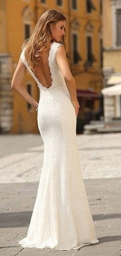 $169.99 >>> 64% OFF! Be sumptuous wearing this classic Sheath Column Scoop Floor-length Lace Wedding Dress. See at http://www.cutedresses.co/product/sheath-column-scoop-floor-length-lace-wedding-dress/ More